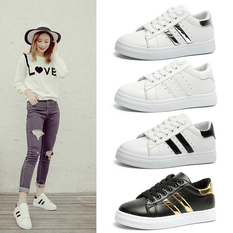 Women Sneakers Fashion Women Casual Shoes Fashion Breathable PU Leather Platform White Women Shoes Soft Footwears Tenis Feminino