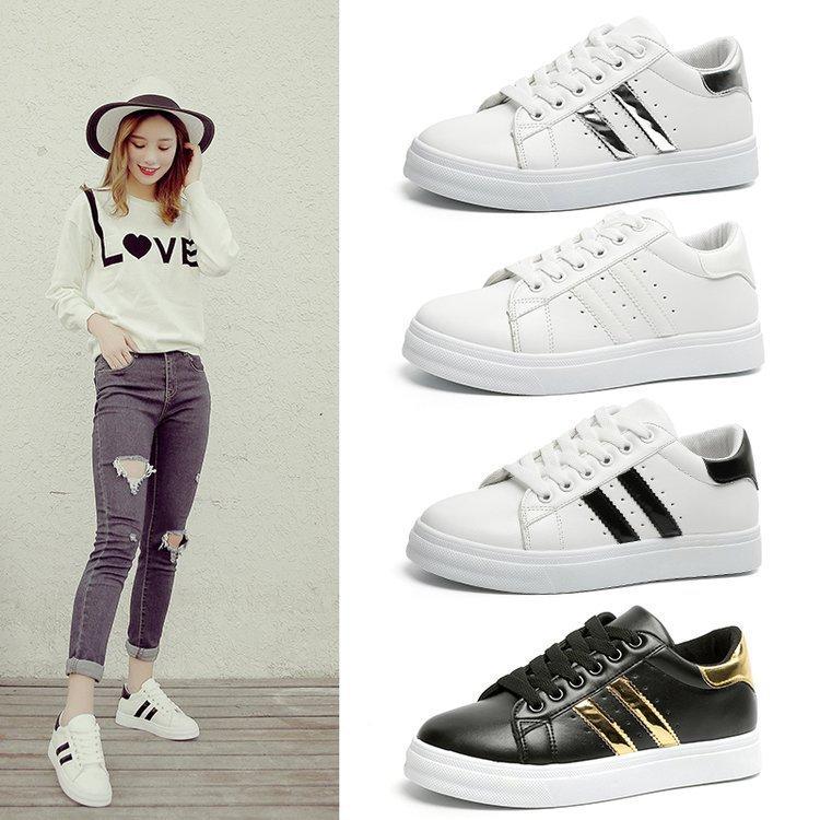Women Sneakers Fashion Women Casual Shoes Fashion Breathable PU Leather Platform White Women Shoes Soft Footwears Tenis Feminino