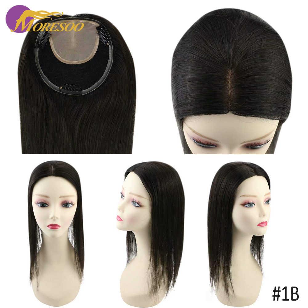 Moresoo saç Toppers kadınlar için klipleri 13*13cm doğal düz kadın saç Toupees makinesi Remy saç 8-18 inç gerçek insan saçı