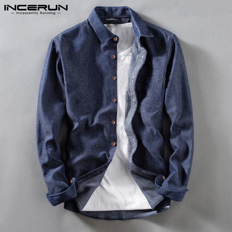 INCERUN Long Sleeve Shirt Men Solid Color Pockets 2020 Streetwear Casual Blouse Lapel Collar Men Basic Brand Shirts Camisa S-3XL