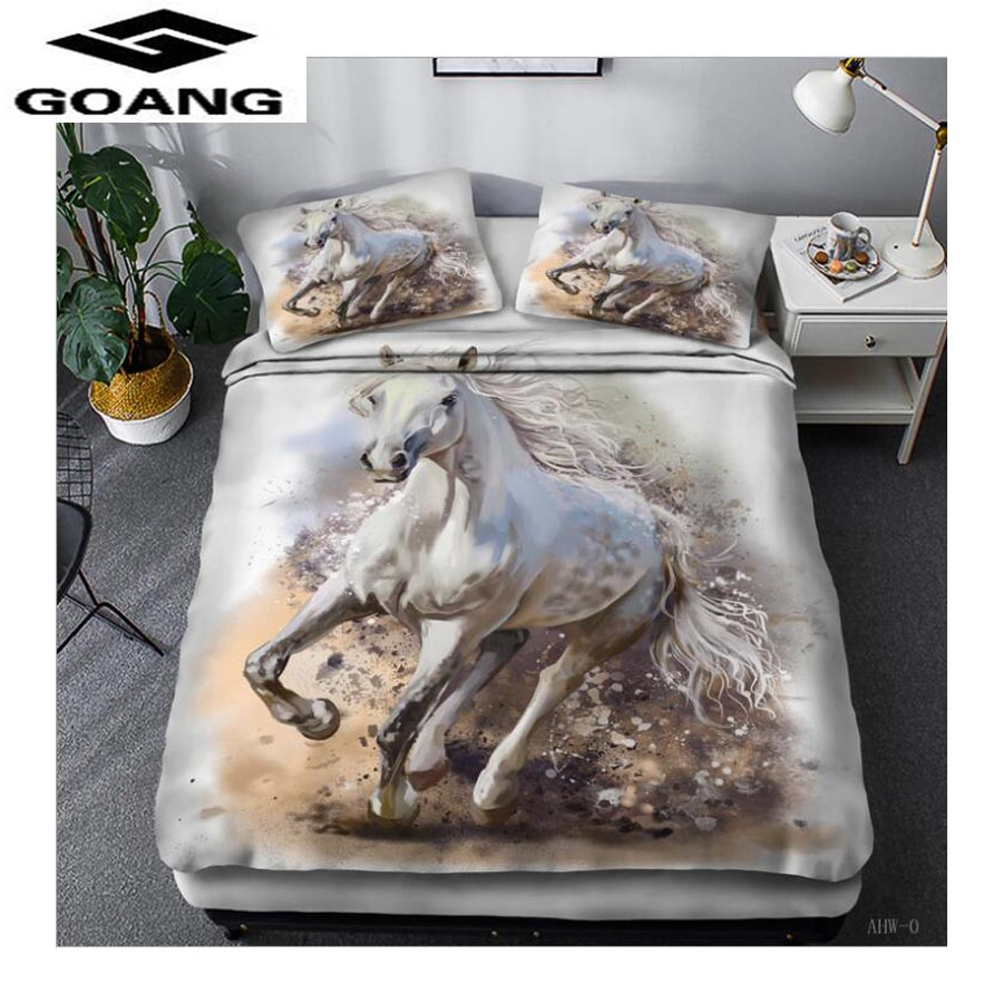 GOANG 3d Digital printing horse running luxury bedding Home textiles animal bedding set bed sheet duvet cover and pillowcase