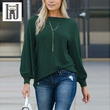 LOUIS JASON New T shirt Women Clothing Hot European Pure Color Round Collar Lantern Long sleeve Loose Sleeve Top Women Harajuku