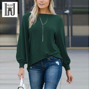 Image 1 - Louis jason nova camiseta feminina roupas quentes cor pura europeu gola redonda lanterna manga longa solta topo harajuku