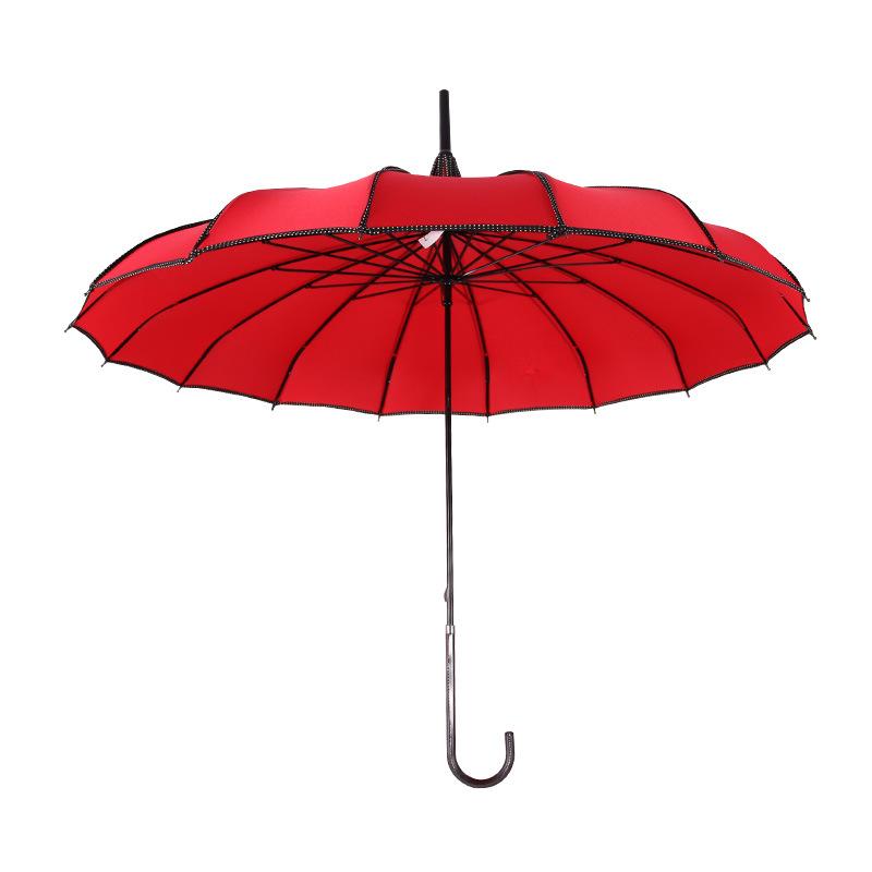 16k Long Handle Straight Pole Bride Wedding Umbrella Outdoor Sunshade Windproof All-Weather Umbrella Customizable Manufacturers