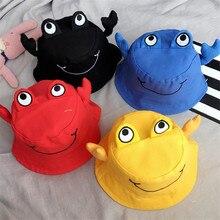 Korea Handmade Solid Cotton Cartoon Crab Bucket Hats Caps Fall Winter for Children Girls Kids Apparel Accessories-SWKHFW001C5