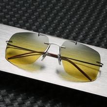 HBK 2020 Titanium Square Rimless Sunglasses Men Polarized Ul