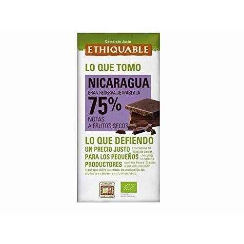 Chocolate Negro 75% Cacao De Nicaragua De Gran Reserva De Waslala Ecológico Tableta 100 G