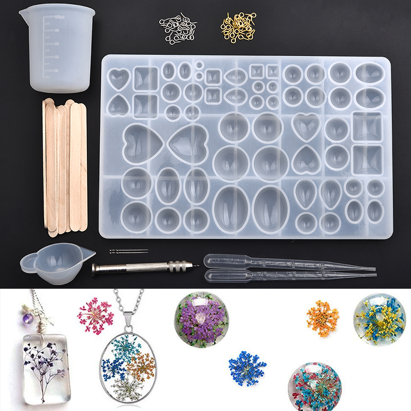 Geometric Cabochon Silicone Combination Molds Heart Round Oval Drop Crystal UV Epoxy Resin Pendant DIY Jewelry Making Tools Set