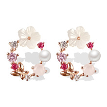 Temperament fashion simple CZ earrings crystal branch White flower Stud Earrings for Ladies Flowers Style and silver ear stud