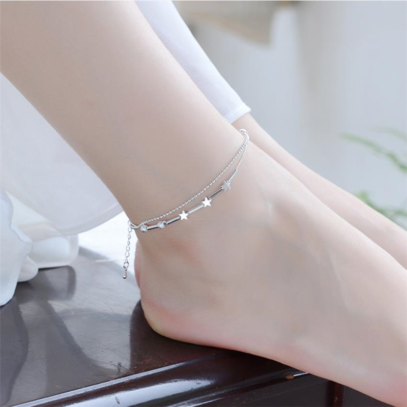 Vintage Lady Star Double Layer Bracelets For Women Jewelry Fashion 925 Sterling Silver Anklets Girls Princess Accessories Lady