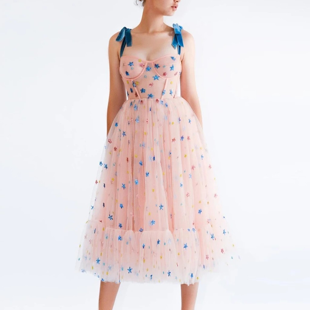 Summer Dress Women Strawberry Pink Mesh Maxi Dress Sweet Dresses Short Puff Sleeve Sexy V-neck Lace-up Bow Tunic Lolita Dress