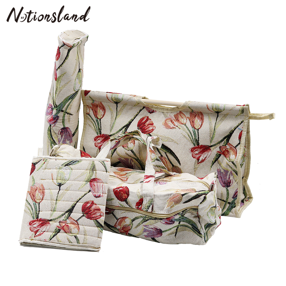 Household Knitting Storage Bag Fabric Crafts Sweater Crochet Needle Storage Bag Needlework Tools Christmas Gifts for Mom