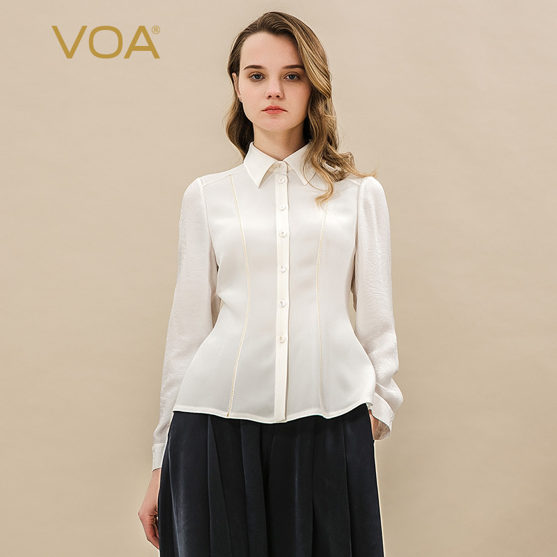 VOA rice heavy weight silk ramming material splicing gold thread decoration micro elastic skin care simple slim shirt girl B1056