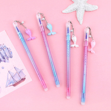 1 Pcs Creative Erasable Gel Pen Mermaid Shell Pendant Friction Pen 0.5mm Blue Ink Writing Pens Student School Office Stationery 3 pcs blue ink erasable pen student stationery writing pen multifunction gel pen 0 5mm tip writing fluently strong quality