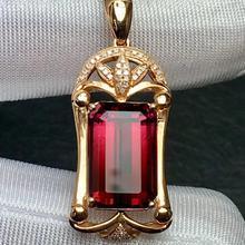 Рубилит турмалиновая подвеска Настоящее 18 К золото натуральный рубиллит Турмалин 8.5ct драгоценные камни алмазный кулон ожерелье