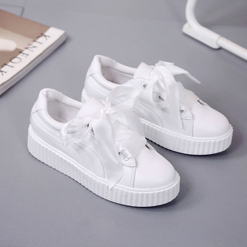 Women White Sneakers 2019 Spring Summer Fashion Runing Shoes Ladies Lace-up Breathable  White Platform Walking Women SX-27