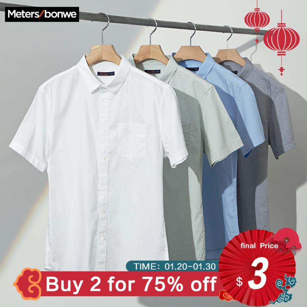 Metersbonwe Men Short Sleeve Shirt For Male New Trend Summer Solid Color Shirt 2019 Hong Kong Style Oxford Cloth рубашка мужская