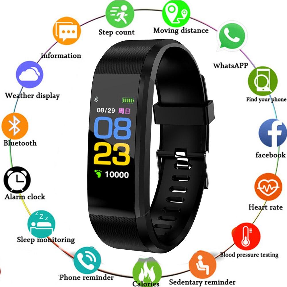 Смарт-часы 115 Plus с Bluetooth, пульсометром, Смарт-часы, фитнес-трекер, водонепроницаемый браслет