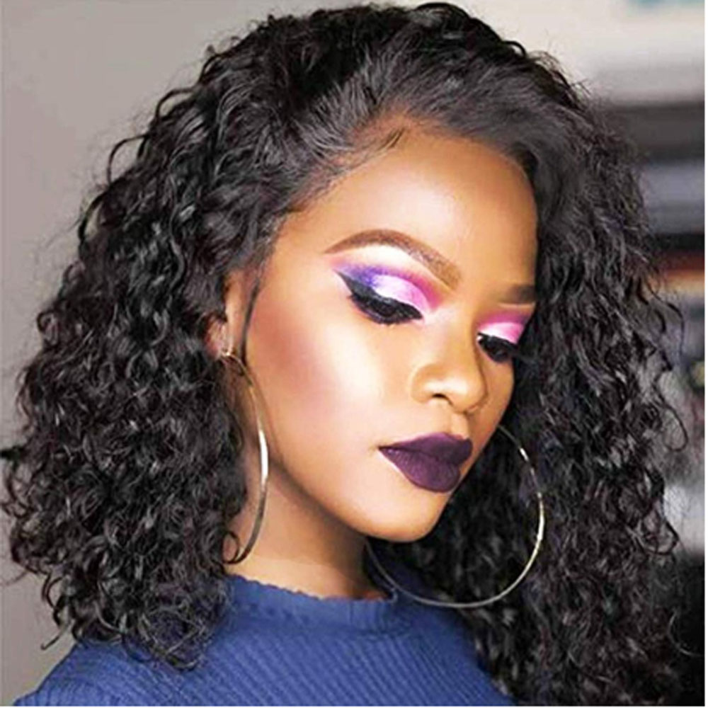 Short Curly 13×4 Lace Front Human Hair Wigs With Baby Hair Pre Plucked Brazilian Remy Wig For Women