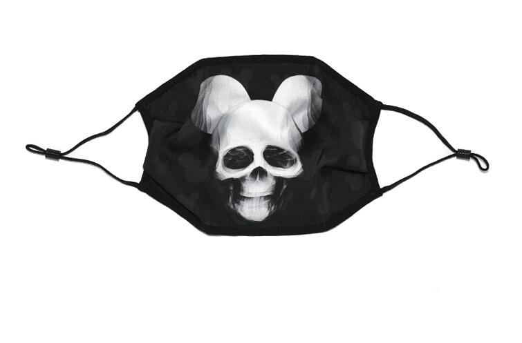 Women's Spring Summer Skull Print Silk Sunscreen Mask Lady's PM 2.5 Breathable Silk Mouth-muffle R2806