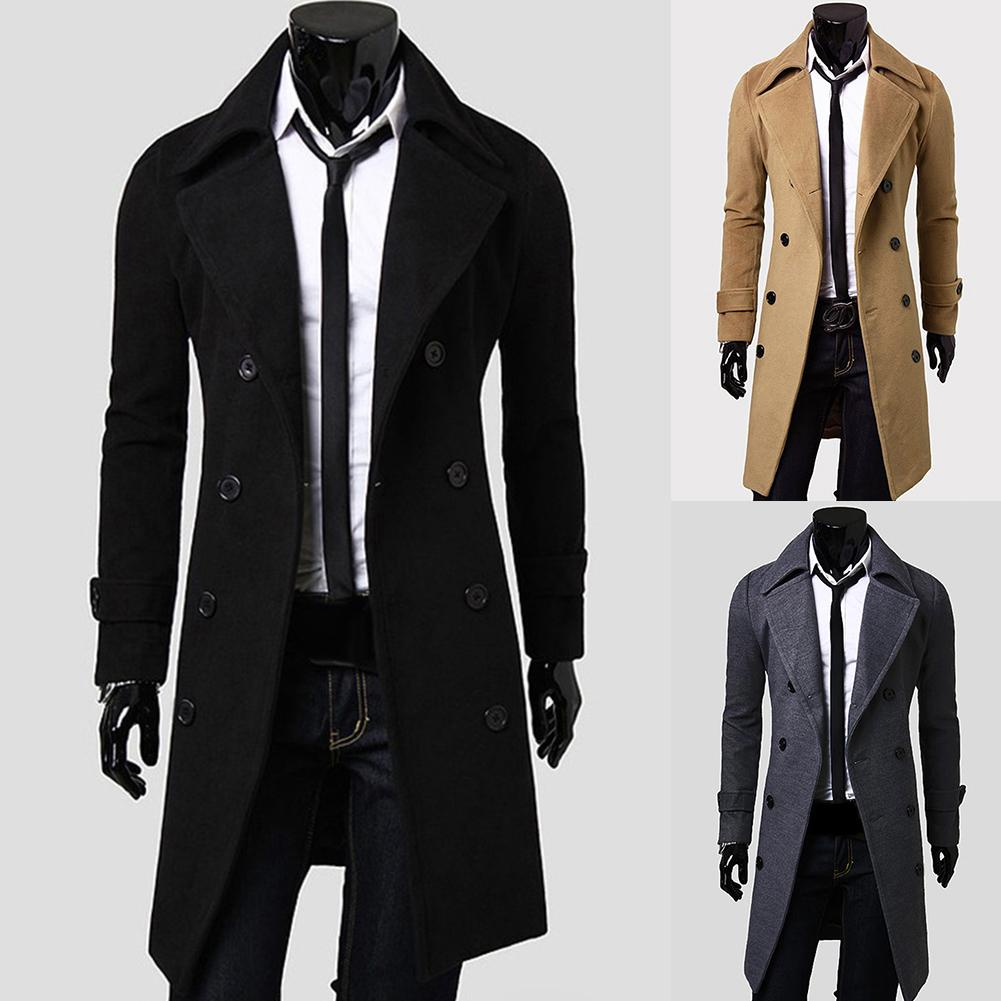 Fashion Coat Men Wool Coat Winter Warm Solid Long Trench Jacket Breasted Business Casual Overcoat Parka пальто мужское Clothing