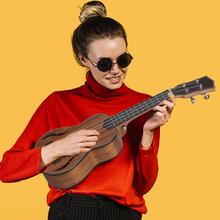21 Inch 4 String Mahogany Ukulele Hawaiian Small Guitar Playing Instrument Musical For Men And Women Portable