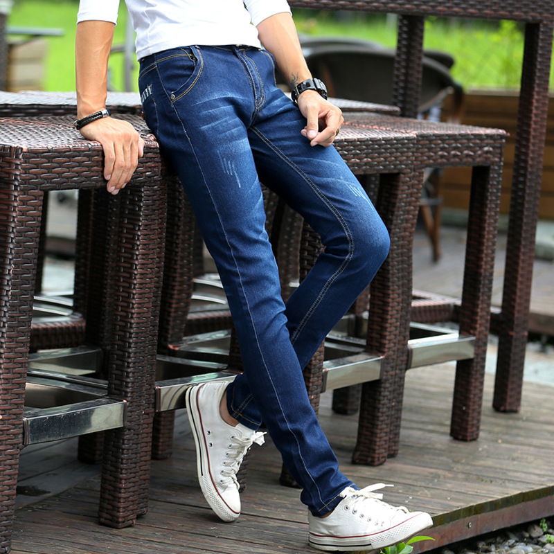 Spring And Summer Korean-style Men's Jeans Teenager Elasticity Slim Fit Pants Cowboy Trousers Fashion Man Students