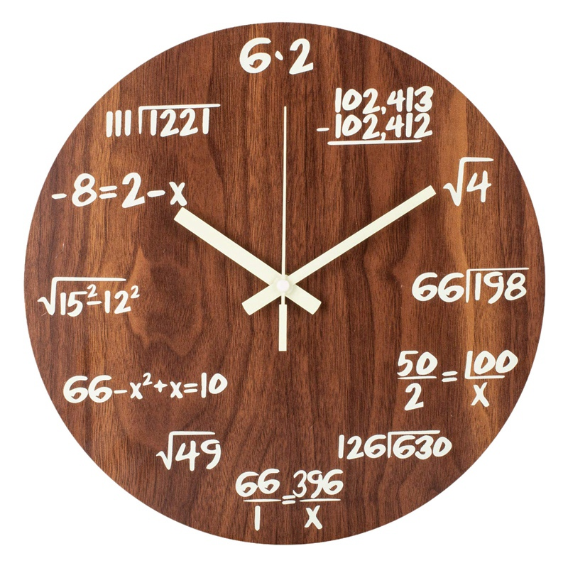 NEW Luminous Wall Clocks, Maths Formula Creative Clocks, Non-Ticking Quartz Clock, 30cm Wooden Vintage Decorative