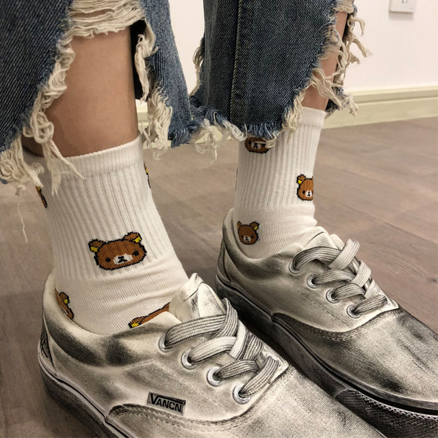1 Pair of Cute cartoon women's pure Cotton socks cute and Fashionable bear socks five Colors of pure Cotton Female socks 2