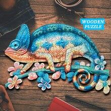 Original de madeira animal quebra-cabeças misterioso camaleão quebra-cabeça presente jogos interativos brinquedo adultos crianças educacional fabuloso presente