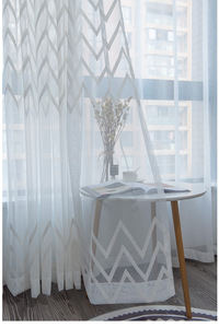 window Curtain gauze curtain product embroiders wave Europe type window gauze sitting room bedroom wave window curtains tulle