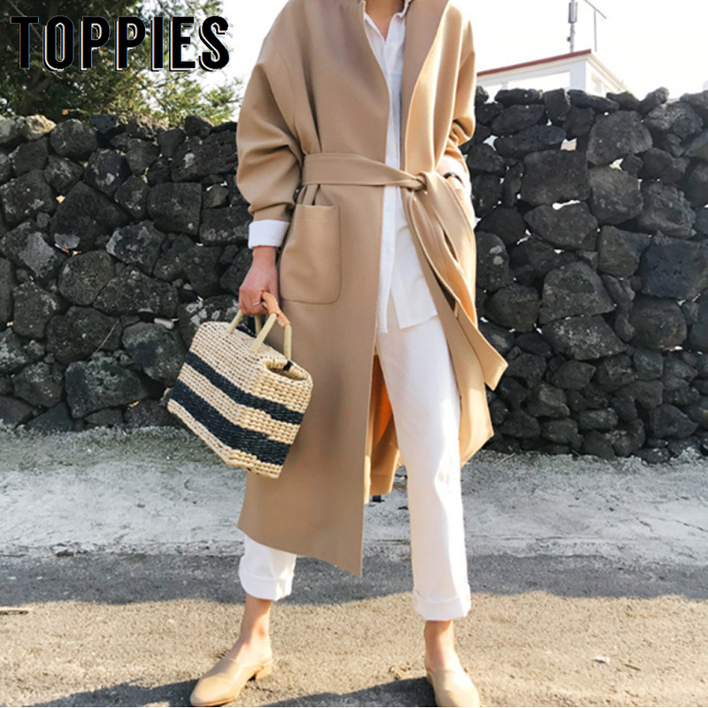 Windbreaker Women Loose Cardigan Coat 2019 Autumn Winter Plus Size Long   Trench   Coat Belt Waist Korean Women Outwear