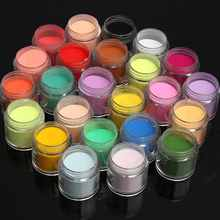 24 Color Jumbo Fine Shiny Glitter Nail Art Kit Acrylic UV Powder Dust Tip 3D DIY Nails Art Powder