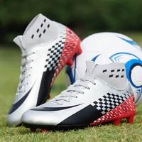 Botas de futebol dos homens botas de futebol longas spikes ao ar livre sapatos de treinamento de futebol para crianças de alta superior sapatos de futebol 35-44