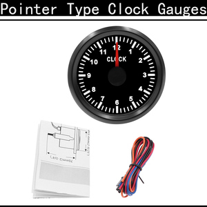 1PCS 52MM Tuning Car Pointer Clocks Hourmeters Gauge 12-Hour Format Auto Boat Mechanical Clock Gauge With Red Backlight 9-32V