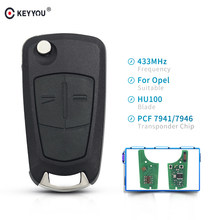 KEYYOU 2 boutons 433MHZ voiture clé à distance PCF7946 puce pour Vauxhall Opel Astra H 2004-2009 Zafira B 2005-2013 HU100 lame(China)
