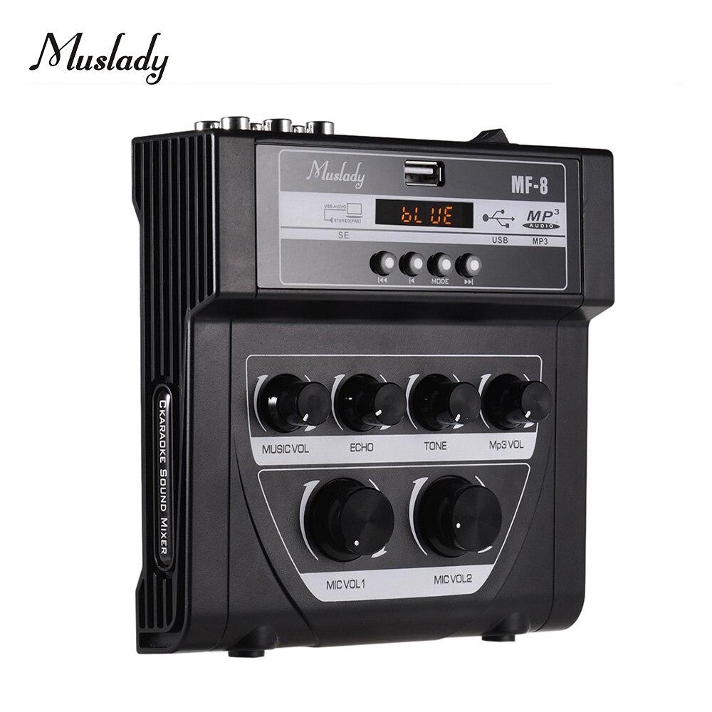Muslady MF-8 Mini Sound Mixing Console Audio Mixer Amplifier Bluetooth 5V Phantom Power For Karaoke Ktv Match Part