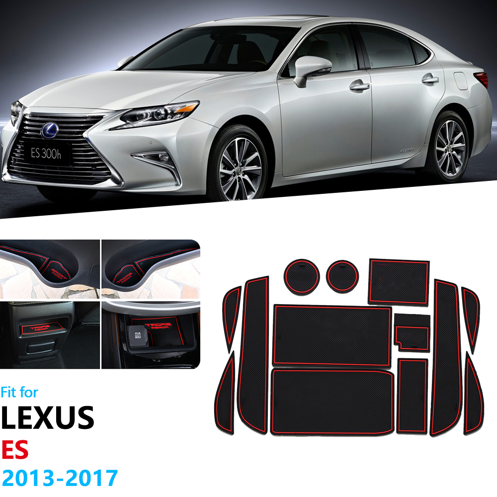 Anti-Slip Rubber Gate Slot Cup Mat For <font><b>Lexus</b></font> ES ES250 ES300h ES350 2013~2017 XV60 <font><b>250</b></font> 300h 350 <font><b>2014</b></font> 2015 2016 Car Stickers image