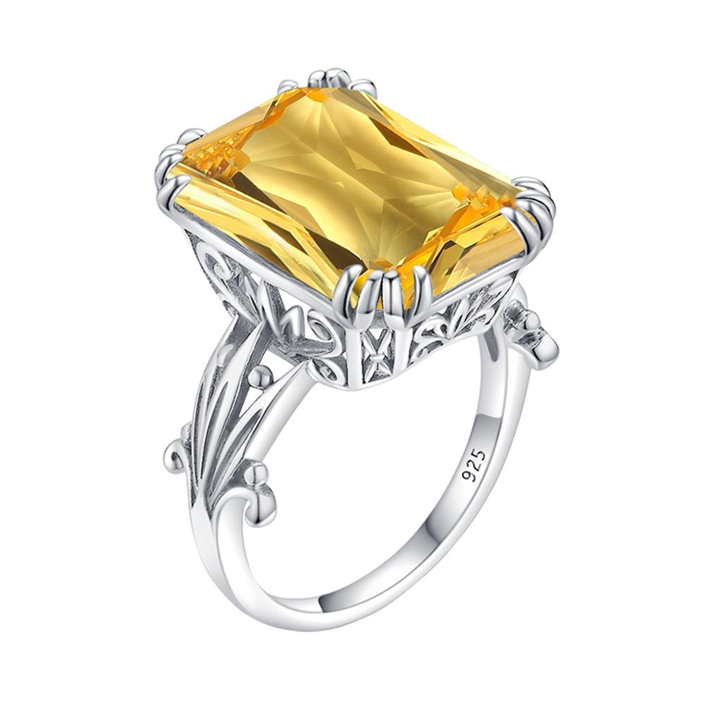 Szjinao Silver Rings For Women Real 925 Sterling Silver Designer Ring Shiny Yellow Cristal Gemstones Big Square Fine Jewelry Hot