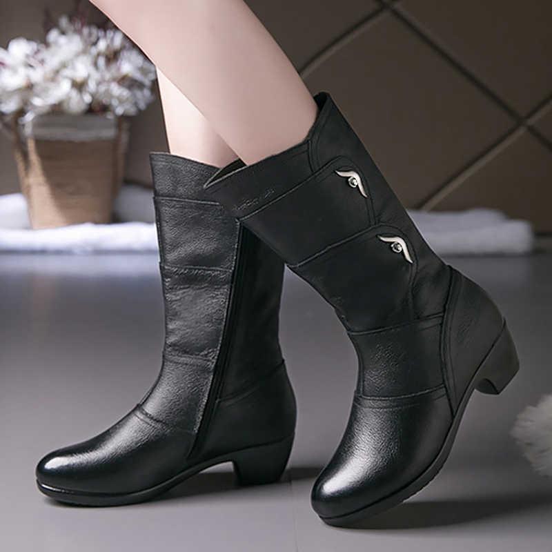 Deri çizmeler kadın rahat fermuar orta buzağı lastik çizmeler kadınlar için kaymaz 2020 bahar kadın kış ayakkabı siyah büyük boy 41 42