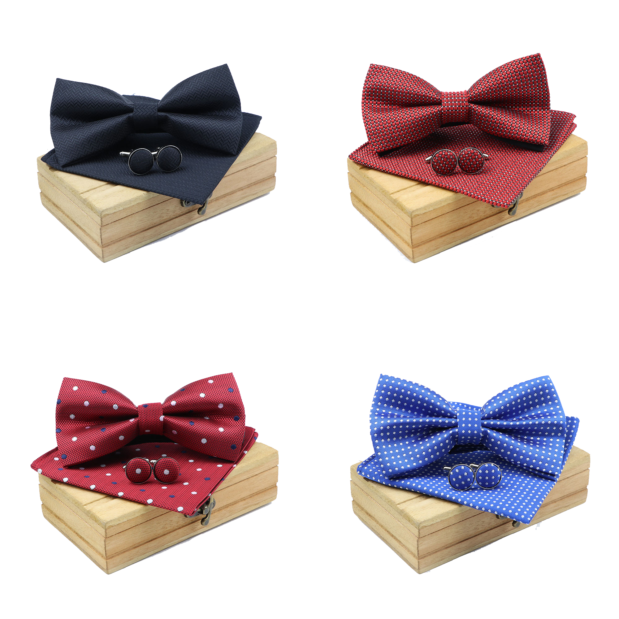 Men Bowtie Cravat Cufflinks 3Pcs Set Fashion Butterfly Party Wedding Bow Ties For Mens Solid Color Dots Bowknot Handkerchief