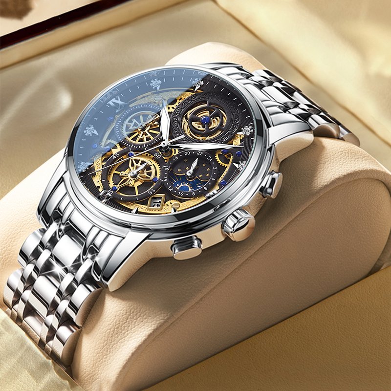 2021 New Fashion Men's Watch Stainless Steel Top Brand Luxury Waterproof  Sports Chronograph Quartz  Men's Relogio Masculino 1