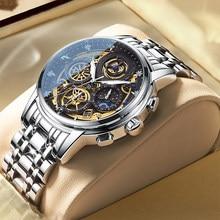 Reloj deportivo de lujo para hombre, cronógrafo de cuarzo, de acero inoxidable, marca superior, a la moda, resistente al agua, nuevo, 2021