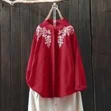 Embroidery Blouse Shirts Tops Button Blusas Long-Sleeve Female Vintage Plus-Size Women's