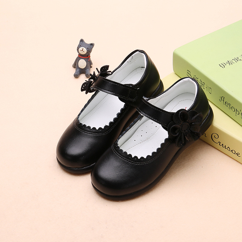 Fashion Princess Flowers Children Girl Wedding Shoes For Big Kids Flat Leather Shoes Student Size 3 4 5 6 7 8 9 10 11 12 13 Year
