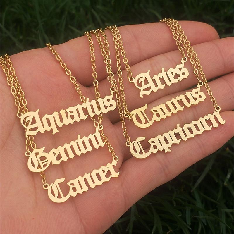 12 Zodiac Letters Pendant Necklace Old English Scorpio Aries Taurus Gemini Cancer Leo Choker Horoscope Signs Necklace Friendship(China)