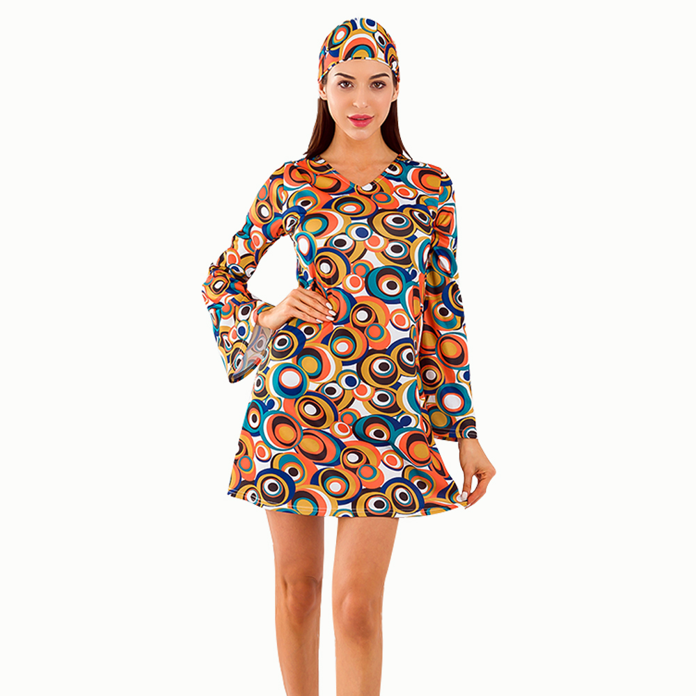 Self-produced Unique Retro 60s 70s Hippie Costumes Dress With Headband Cosplay Carnival Halloween Costume Long Sleeve Men Women