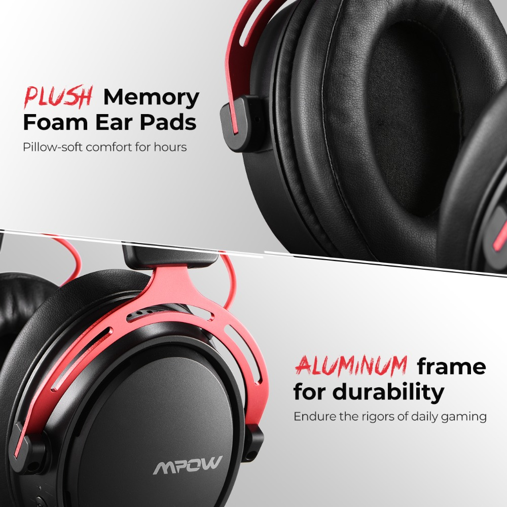 Mpow BH415 Gaming Headset 2.4GHz Wireless Headphones 3.5mm Wired Earphone With Noise Canceling Mic For PC Gamer For PS4 Xbox One (4)