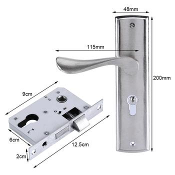 Trwałe klamka do drzwi zamek cylindryczny przód tył dźwignia zatrzask bezpieczeństwa panelu zamki bezpieczeństwa w domu z kluczami podwójny zatrzask drzwi do pokoju tanie i dobre opinie 45-55mm Aluminium Keyed Alike Brak YB-JYA02404