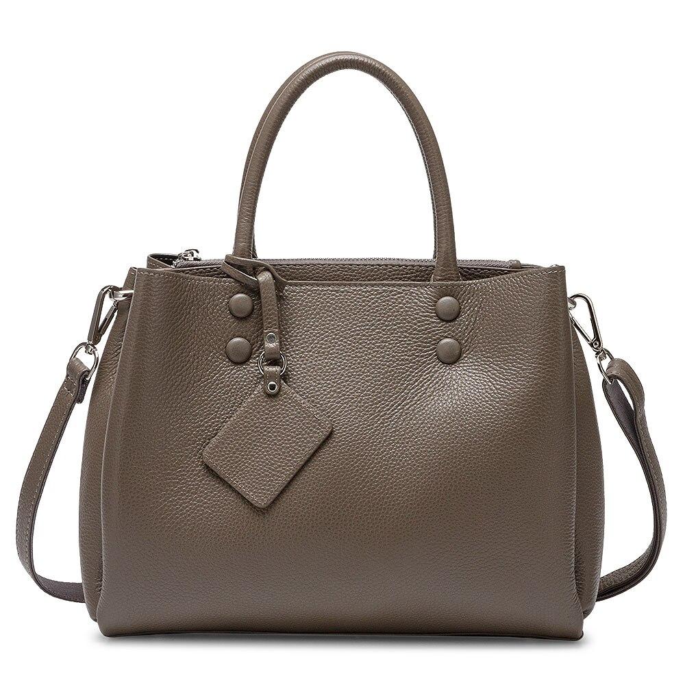 Women Casual Tote Handbag 100% Genuine Leather Fashion Grey Lady Shoulder Crossbody Bag High Quality Office Bags Black